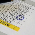 Kalender, eine Zahl (30) ist eingekreist